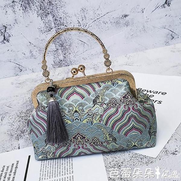 名媛新款中國風復古絲綢刺繡綢手提斜背媽媽包配旗袍宴會女包小『快速出貨』