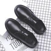 舒適皮鞋 圓頭鞋 系帶百搭工裝鞋【五巷六號】x213