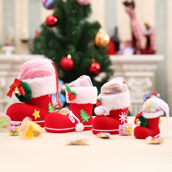 聖誕裝飾品 聖誕樹掛件 聖誕靴子 聖誕植絨靴 聖誕筆筒(大號)─預購CH2502