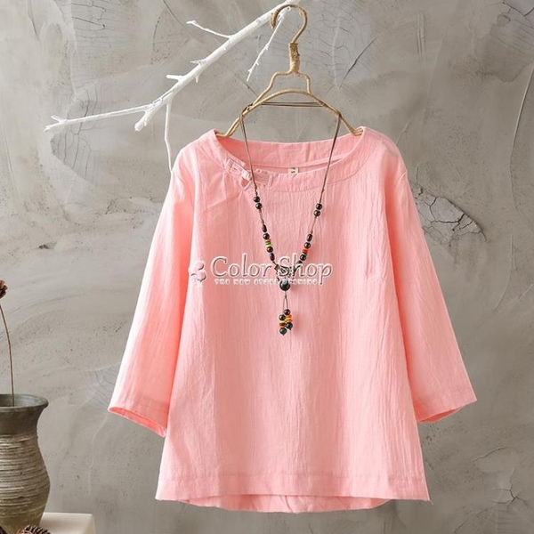 漢服女短袖T恤復古民族風純棉上衣透氣吸汗寬鬆仿棉麻上衣 快速出貨