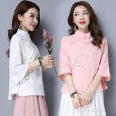 棉麻上衣 夏裝新款民國風女裝復古中式立領盤扣印花寬鬆棉麻茶服上衣女  朵拉朵衣櫥