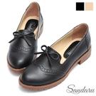 樂福鞋 少女感雕花蝶結小皮鞋-黑