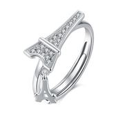 925純銀鑲鑽戒指-時尚精緻鐵塔造型情人節生日禮物女飾品73kz36【時尚巴黎】