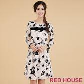 RED HOUSE-蕾赫斯-花朵植絨洋裝(粉色)