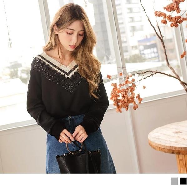 《AB11462-》含棉拼接羅紋針織蕾絲V領上衣 OB嚴選