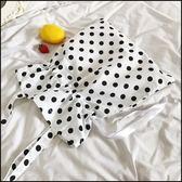 可愛學院風波點抽繩帆布包單肩側背包  袋(2 色)~ifairies ~90038 ~