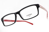 LOEWE 光學眼鏡 VLW861K 700X (黑-紅) 經典百搭方框款 # 金橘眼鏡
