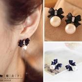 【Q20A98】魔衣子-甜美可愛蝴蝶結珍珠耳環