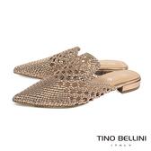 Tino Bellini渡假氛圍編織鏤空穆勒鞋_玫瑰金  FS9004