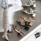 粗跟凉鞋2018新款夏季方頭女士一字扣帶中跟粗跟仙女高跟鞋 Ic206【野之旅】