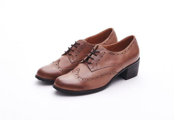 MICHELLE PARK 經典英倫學院風 質感素面真皮牛津粗跟跟鞋-卡其色