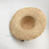 [超豐國際]韓國休閑彩色流蘇時尚拉菲草草帽女夏季可折疊防曬遮1入