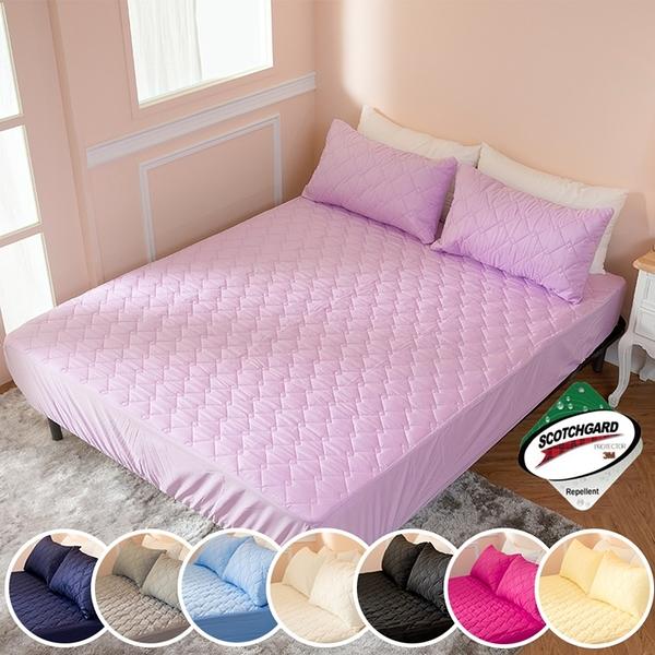 ∥加大床包∥透氣防潑水技術處理床包式保潔墊 MIT台灣精製《粉紫》