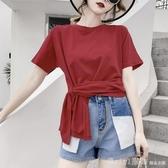 夏季純棉交叉打結設計感圓領短袖T恤女寬鬆上衣不規則體恤棗紅色 俏girl