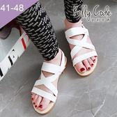 大尺碼女鞋-凱莉密碼-時尚潮流款交叉網帶平底羅馬涼鞋1cm(41-48)【XL3-8】白色