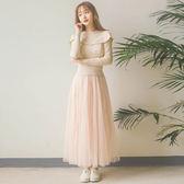 【現貨快出】洋裝新款韓版氣質仙女網紗裙打底假兩件顯瘦針織長裙連衣裙613-768