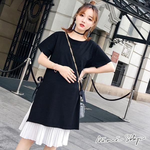 孕婦裝 MIMI別走【P31349】小清新 經典黑兩件式百褶裙洋裝 套裝