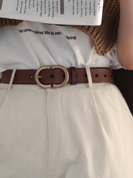 棕色皮帶真皮復古腰帶女士ins風百搭配牛仔褲帶裝飾韓國男士夏季 嬡孕哺
