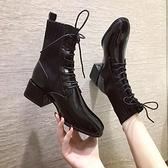襪靴 馬丁靴女粗跟英倫風2021新款襪靴短靴中跟網紅高跟彈力瘦瘦靴 韓國時尚週