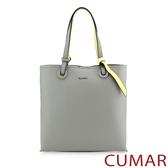 CUMAR 撞色簡約手提斜背包-灰色