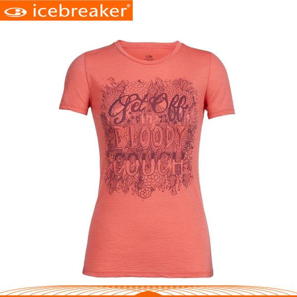 【Icebreaker 女 Tech圓領短袖上衣JN150《鬱金香紅》】103743/快乾機能服/透氣衫/運動