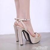 高跟鞋16性感超高跟鞋粗跟15CM防水臺涼鞋女模特走秀鞋大碼杏色車展演出 雲朵