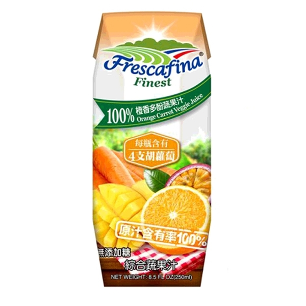 [COSCO代購] W111424 嘉紛娜 100% 橙香多酚蔬果汁 250毫升 X 24入