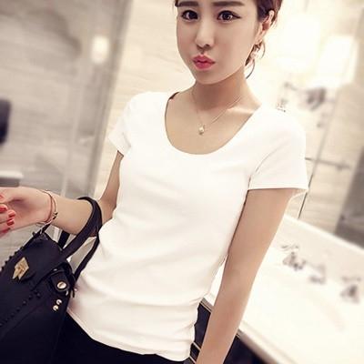 純棉白色短袖T恤女新款緊身ins半袖韓版上衣凈版黑體恤修身潮