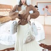 毛衣-兔毛V領純色寬鬆百搭女針織衫5色73uc34【巴黎精品】