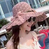 遮陽帽 沙灘帽 草帽女夏天沙灘帽子海邊度假遮陽防曬帽休閑花朵大檐可折疊太陽帽