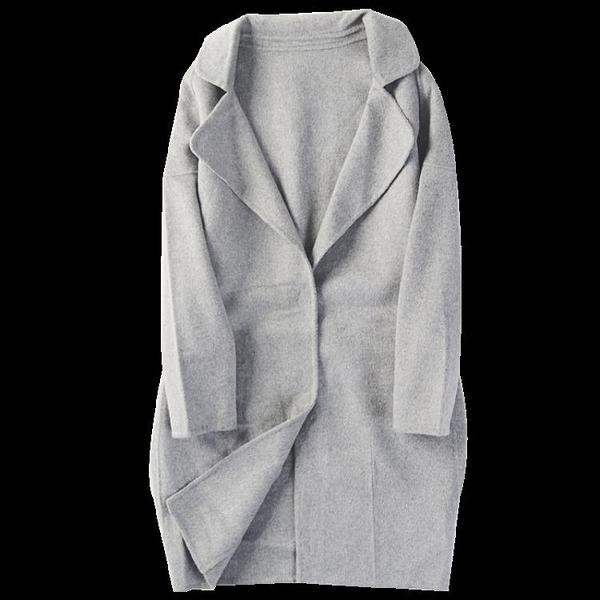 西裝外套 秋冬季新款女裝西裝領兩粒暗扣寬松純色雙面呢大衣外套1027 風馳