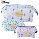 Disney迪士尼緞面滿版碎花大開口立體化妝包/萬用包/收納包/盥洗包/袋中袋