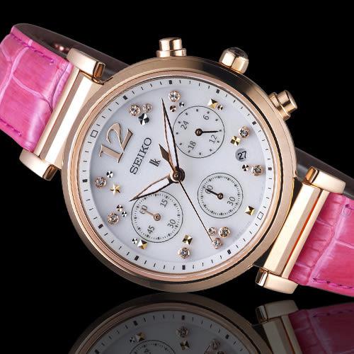 SEIKO精工 LUKIA 繽紛晶鑽太陽能女腕錶    V175-0DY0R  SSC840J1