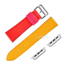 Apple Watch / 38.40.42.44mm / 蘋果手錶替用錶帶 蘋果錶帶 雙色 真皮錶帶 紅x黃 #813-06-RDYW
