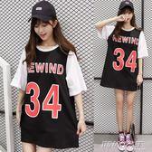 寬鬆中長款運動短袖T恤裙假兩件閨蜜籃球衣服女 時尚教主
