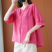 棉麻襯衫上衣棉衫T恤韓版大尺碼寬鬆純色刺繡襯衫女洋氣 棉麻V領上衣潮