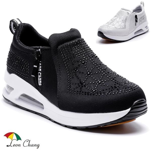 女款 Leon Chang 雨傘牌 7699 閃鑽迷人氣墊網布鞋 氣墊鞋 增高鞋 厚底鞋 健走鞋 休閒鞋 59鞋廊