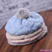 秋冬日系保暖加厚針織毛線帽貝雷帽女韓國甜美可愛兔毛球畫家帽子