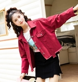 新款韓版牛仔外套女寬鬆學生bf蝙蝠袖春秋港風牛仔上衣潮