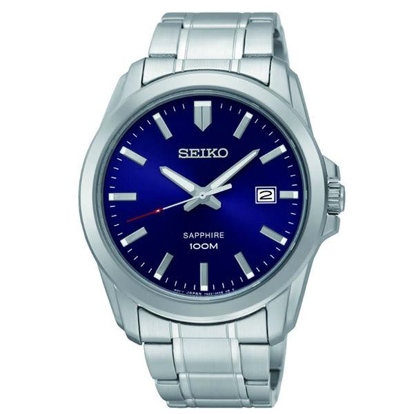 SEIKO 精工 藍寶石鏡面大三針石英錶 7N42-0GD0B(SGEH47P1) 銀x藍面