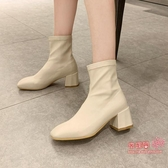 粗跟短靴 女2020秋款馬丁靴秋冬季高跟新款女鞋百搭粗跟網紅瘦瘦短靴女 2色