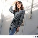 《AB14556-》純色長版翻領收腰綁帶長袖襯衫上衣 OB嚴選