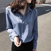 雪紡襯衫女長袖2020春秋款寬鬆韓版設計感小眾輕熟上衣OL打底襯衣