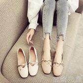 春秋新款韓版復古奶奶鞋淺口百搭平底單鞋女鞋方頭平跟豆豆鞋 至簡元素