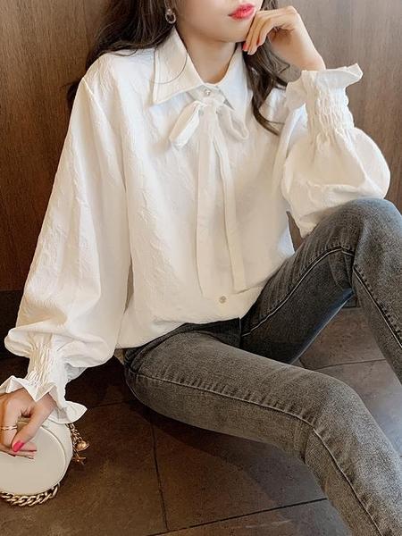 系帶蝴蝶結白襯衫女春秋長袖設計感小眾甜美荷葉邊花朵暗紋襯衣【新年特惠】