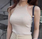 EASON SHOP(GU6239)削肩挖背掛脖無袖背心露肩吊帶背心無袖T恤針織圓領彈力貼身內搭衫女上衣素色韓版