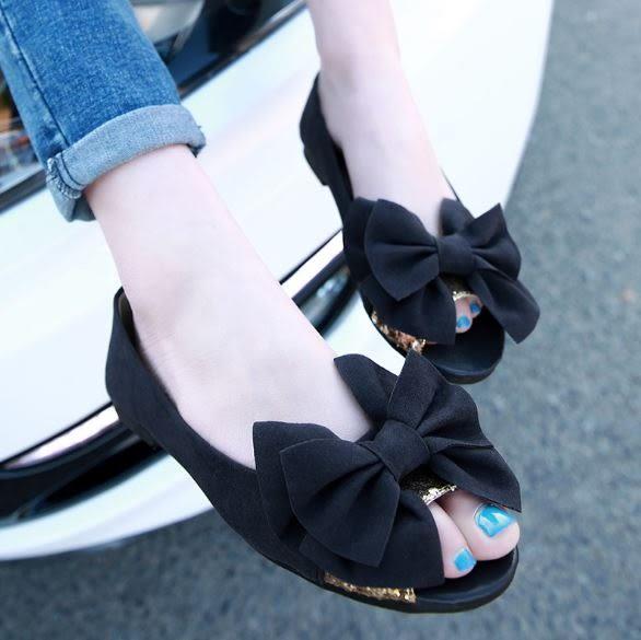 丁果、大尺碼女鞋34-43►簡約蝴蝶結魚嘴平底鞋*3色