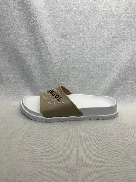 KANGOL 男女款咖啡白色滿版LOGO休閒涼拖鞋-NO.6125162101