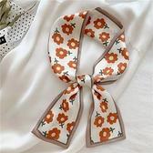 韓版網紅INS時髦法式女新款綁發帶女絲巾百搭復古長飄帶印花發飾9 幸福第一站