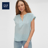 Gap 女裝 創意印花性感開領上衣 538806-藍底印花